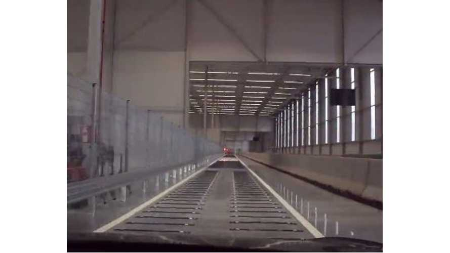 Take A Ride On Tesla's Indoor Test Track In Europe - Video
