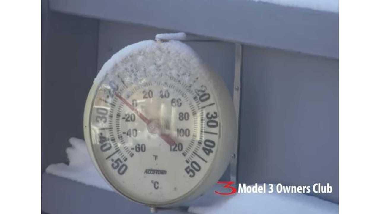 Tesla Model 3 Range Loss In Bitter Cold - Video