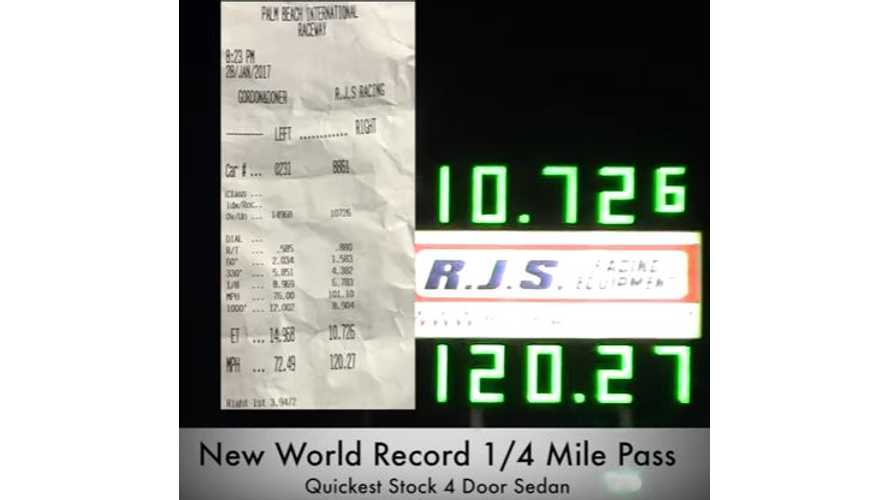 Tesla Model S P100D With Ludicrous + Sets New 1/4-Mile World Record For 4-Door Production Sedan - Video