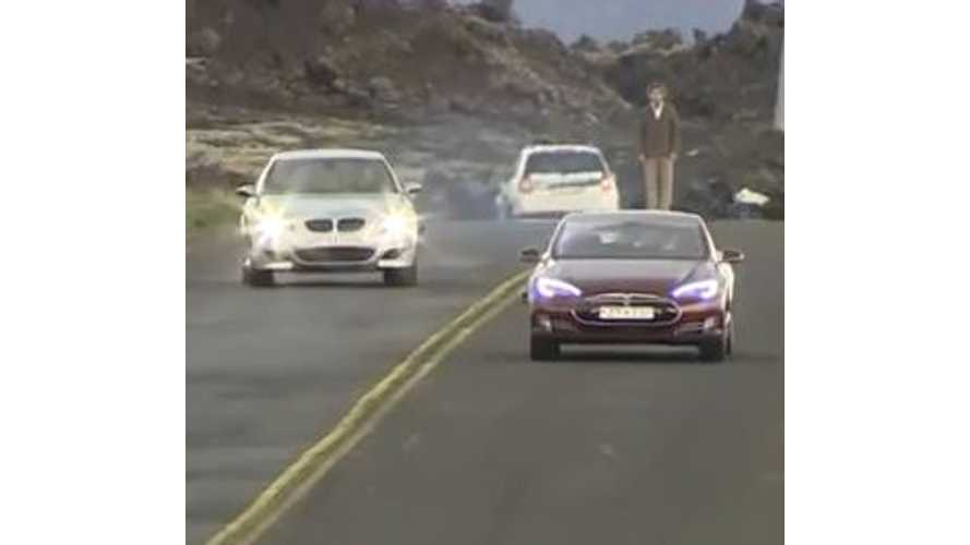 Tesla Model S P85 Versus V10 BMW M5 - Video