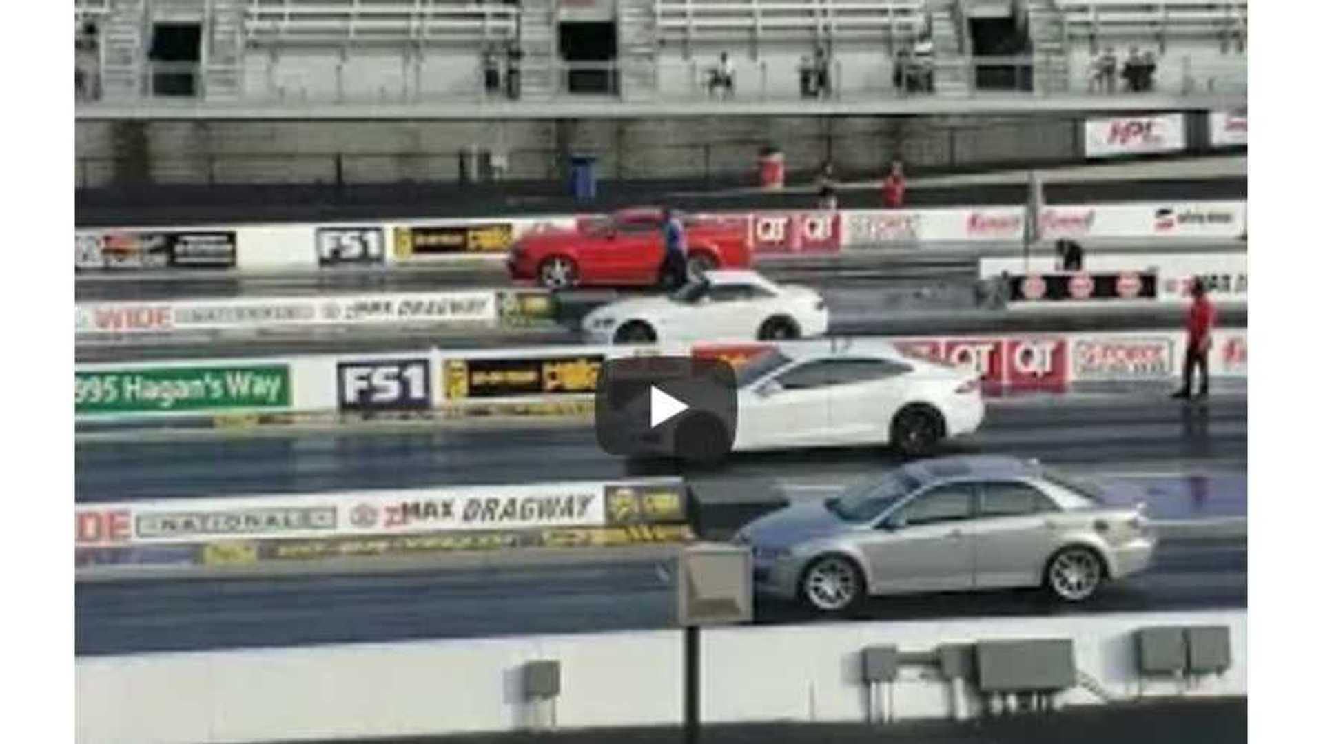 Tesla Model S Takes On Mustang, S2000, Mazda6 In 4-Wide Drag Race