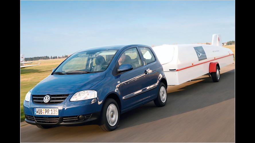 Kraftpaket: Der Volkswagen Fox zieht eine Tonne