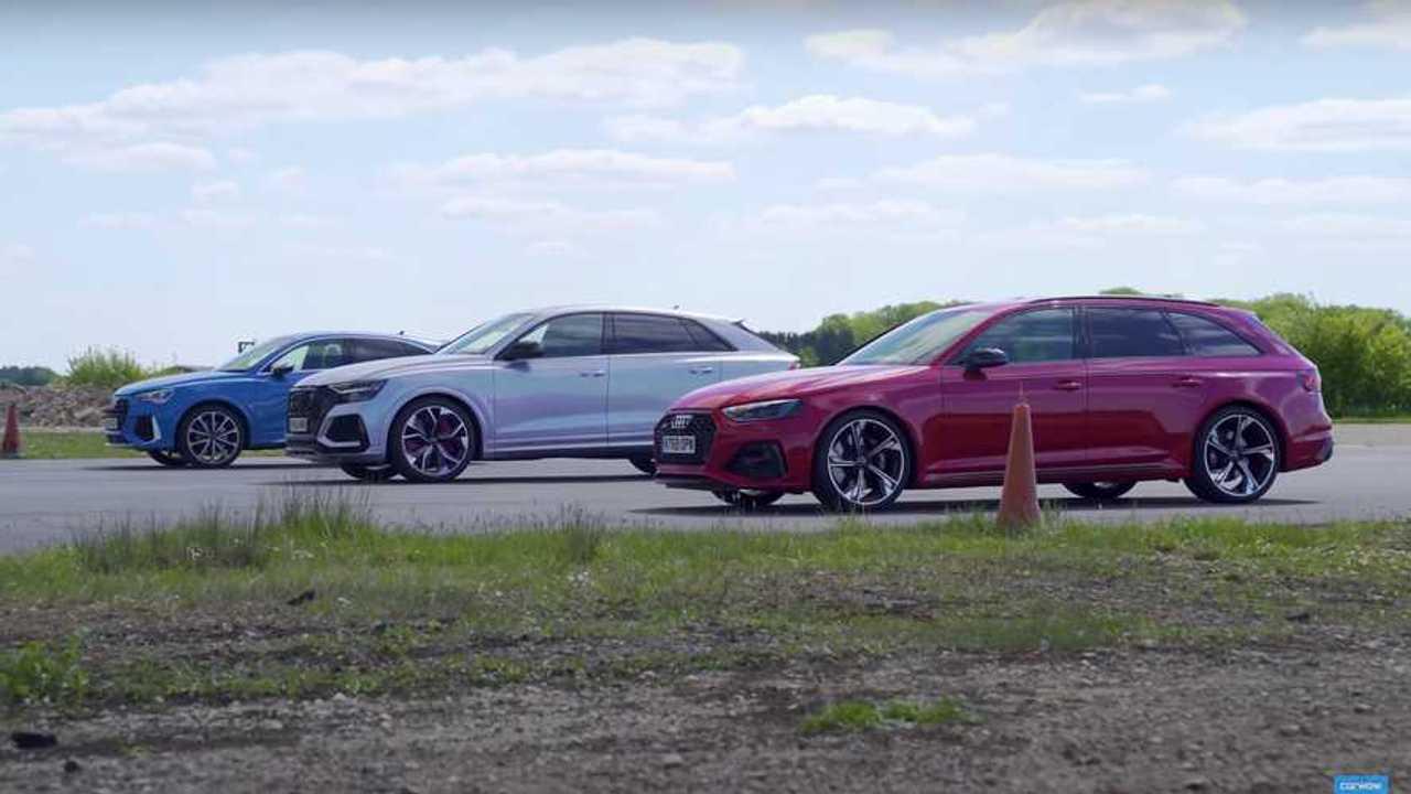 Audi RS Q8 vs RS4 vs RS Q3 gyorsulási verseny