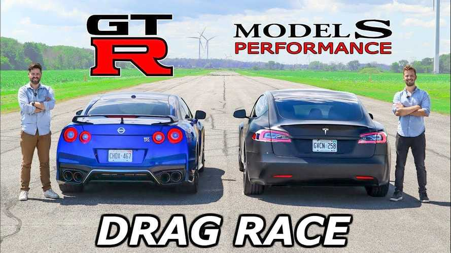 Watch Tesla Model S Performance vs Nissan GT-R drag and roll race