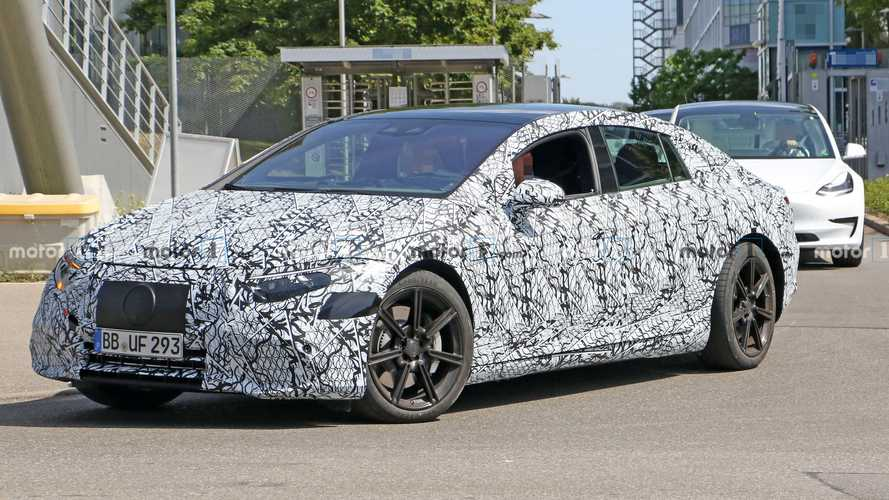 Mercedes-Benz EQS EV Spied Testing With Teslas