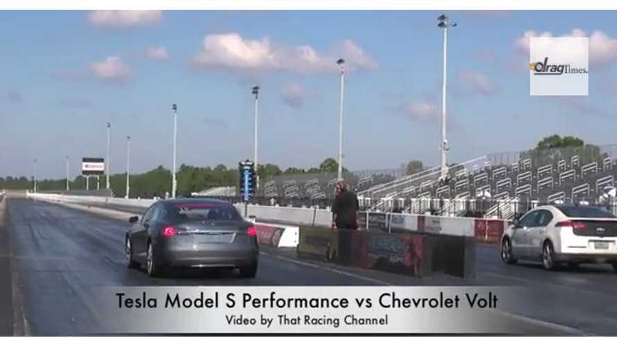Video: Tesla Model S Takes On Chevy Volt in 1/4-Mile Drag