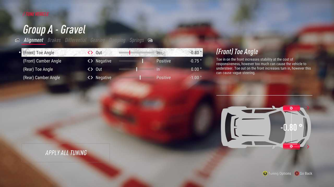 Dirt Rally 2 In-Game Menu