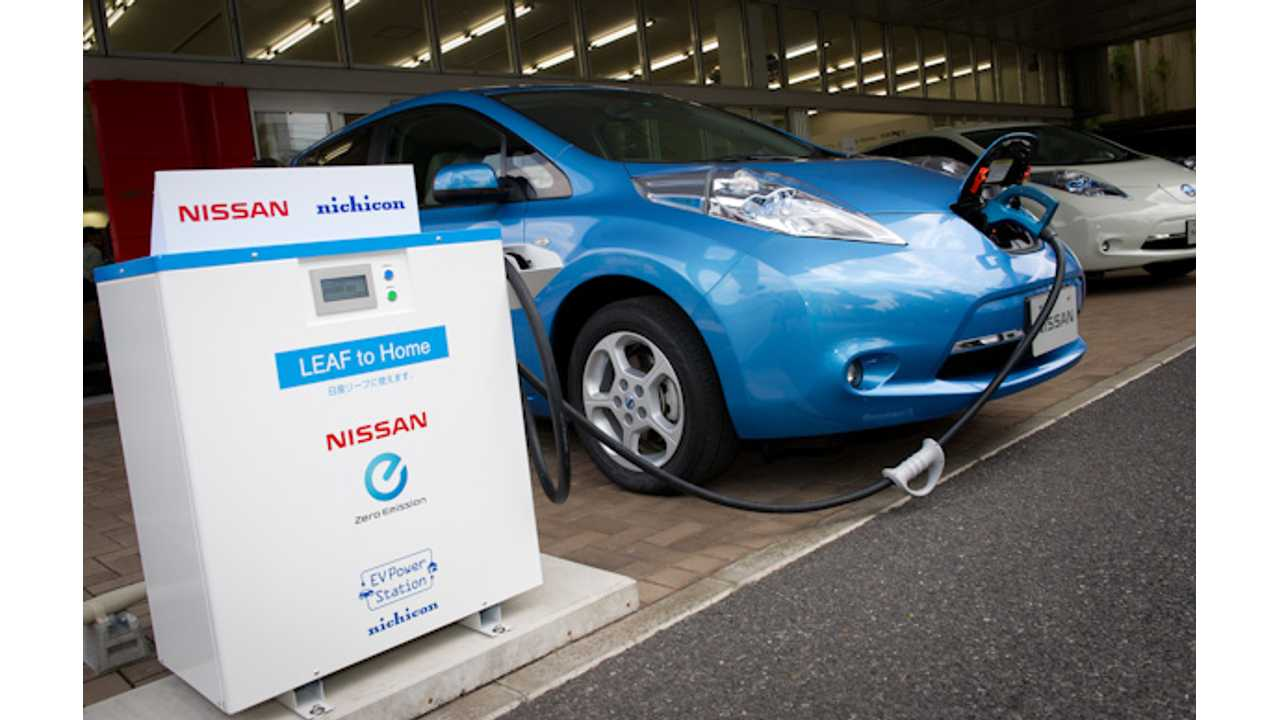 V2G Is Already A Reality In Japan. Here A Nissan LEAF, Through A Nichicon Charging Station Puts Stored Electricity Back Into The Grid