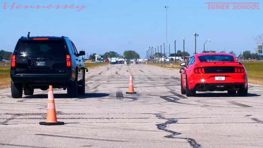 Hennessey Tahoe Drag Races Mustang GT