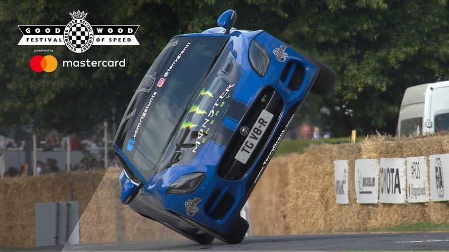 Jaguar F-Type Rides On Two Wheels Up Goodwood Hill Climb