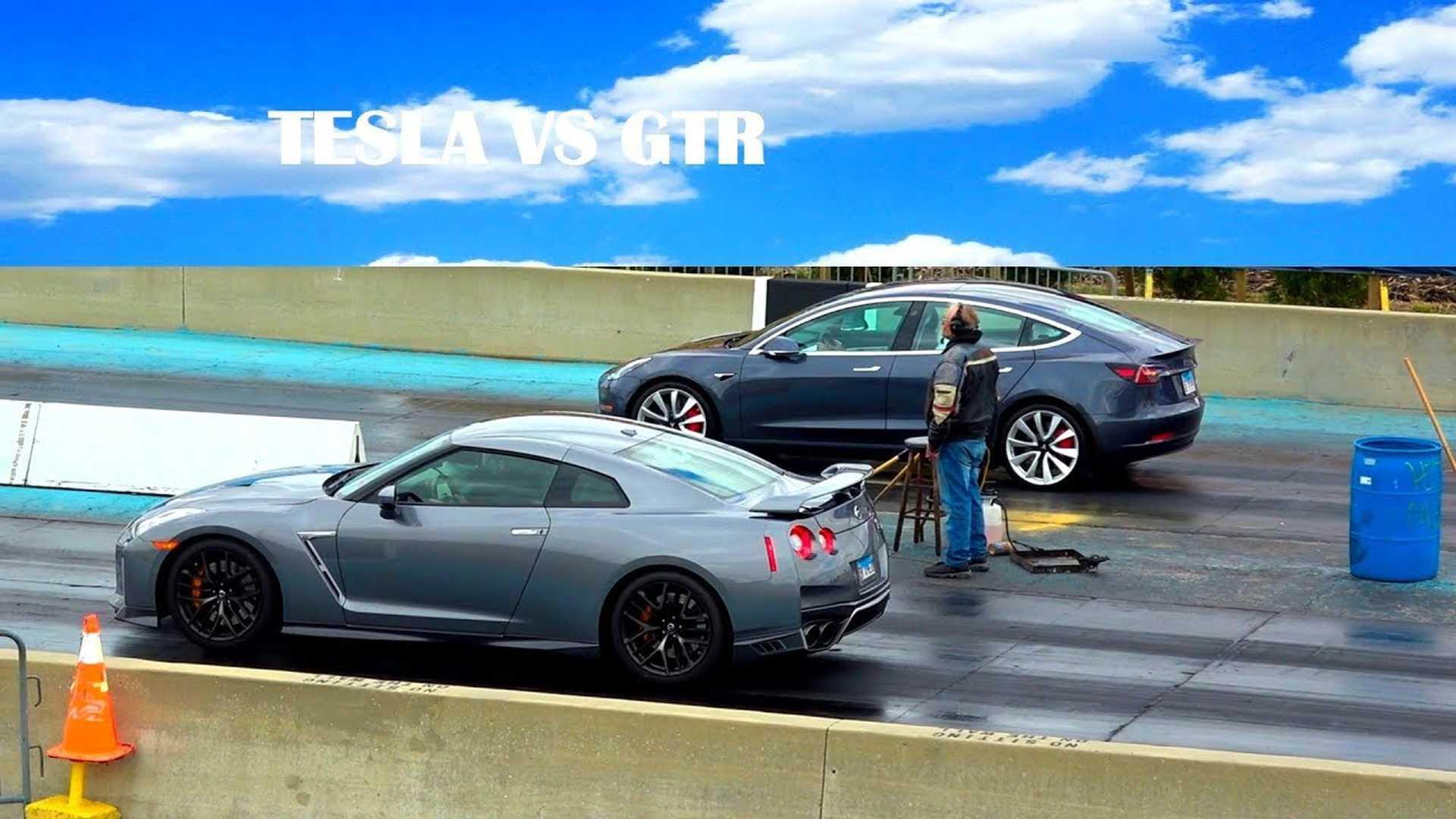Watch Tesla Model 3 Race Nissan Gt R At Drag Strip Video