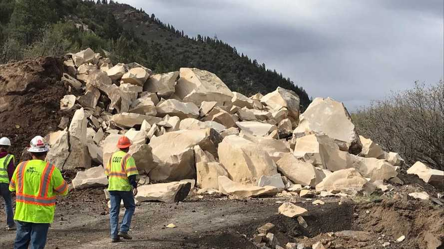 Watch Boulder Blocking Colorado Highway Get Blown To Pieces