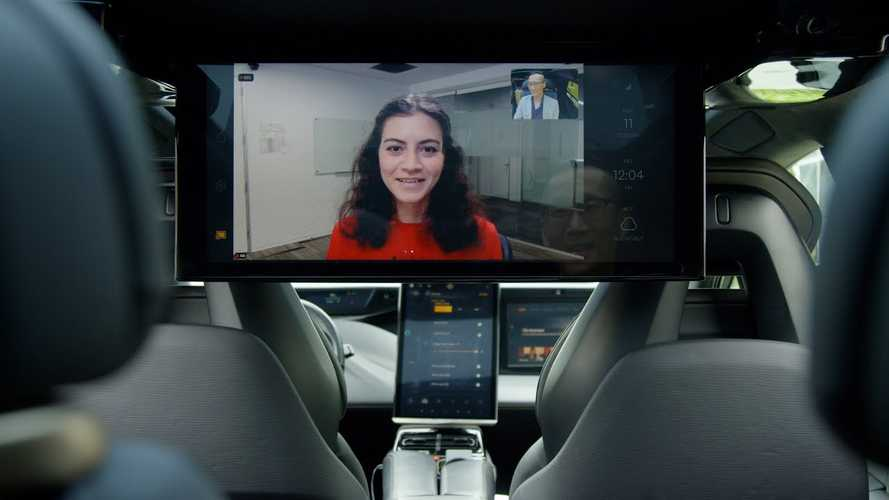Faraday Future Shows 27-Inch Rear Screen For Zoom Meetings On The Go