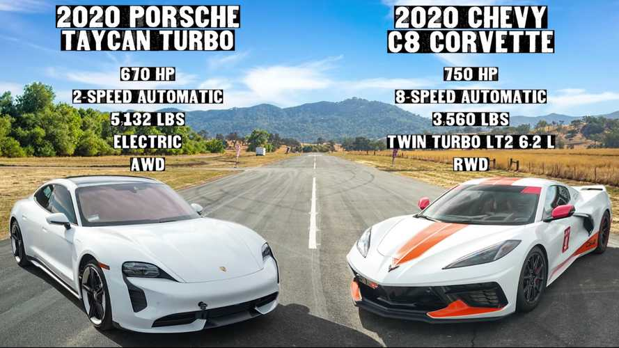 Watch world's fastest Corvette C8 versus Porsche Taycan in drag race