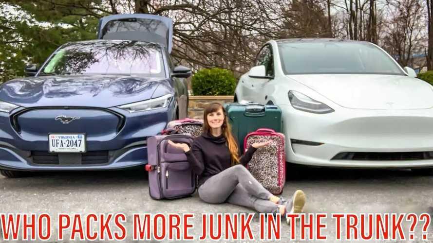 Tesla Model Y Vs Ford Mustang Mach-E Luggage Capacity Battle