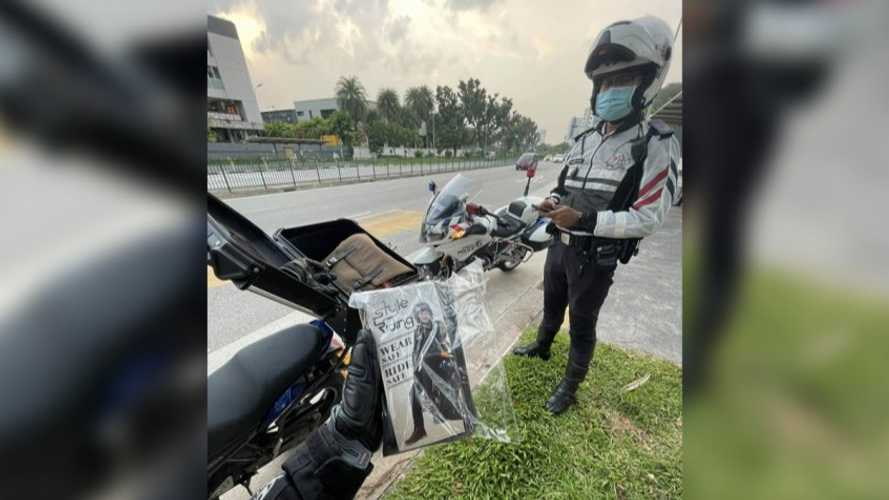 Motorcyclist In Singapore Pulled Over By Cop Is In For A Surprise