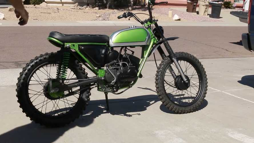 Watch A 1972 Kawasaki 100 Turn Into The Tiniest Scrambler
