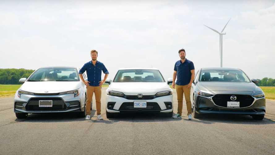 Toyota Corolla, Honda Civic ve Mazda3'ün yarışını izleyin