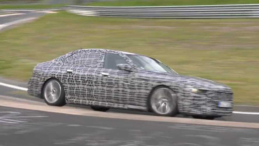 2023 BMW 7 Series spied squealing its tyres at the Nurburgring