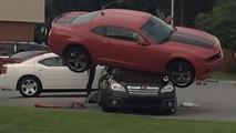 Chevrolet Camaro and Subaru Outback crash