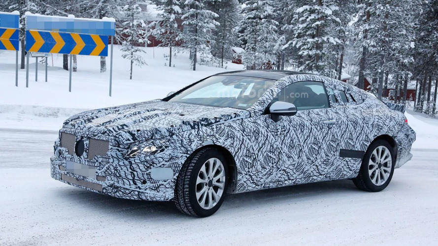 Mercedes E Class Coupe spied in a winter wonderland