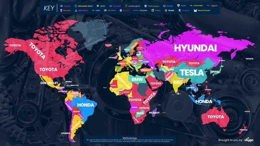 Hyundai в России, Tesla в Китае — в каких странах мира какие марки машин ищут в интернете