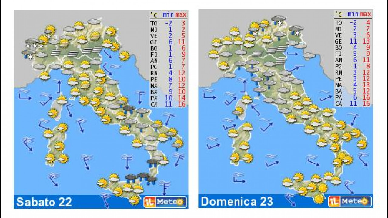 [Copertina] - Il meteo del fine settimana 22-23 dicembre: tempo in miglioramento
