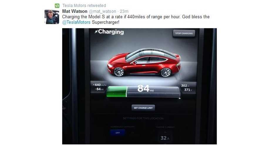 Tesla Model S Charging At 440 Miles Per Hour