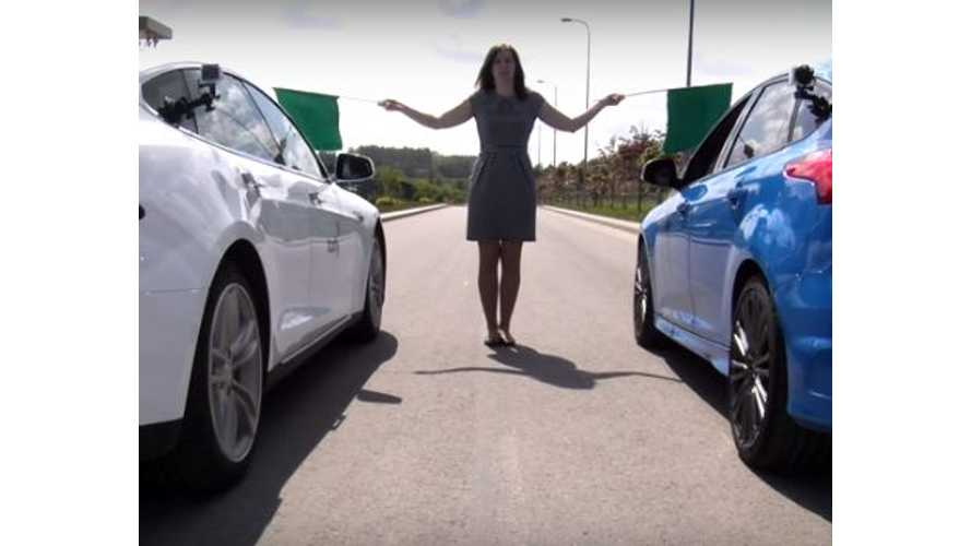 Tesla Model S 70D Versus Ford Focus RS - Drag Race Video