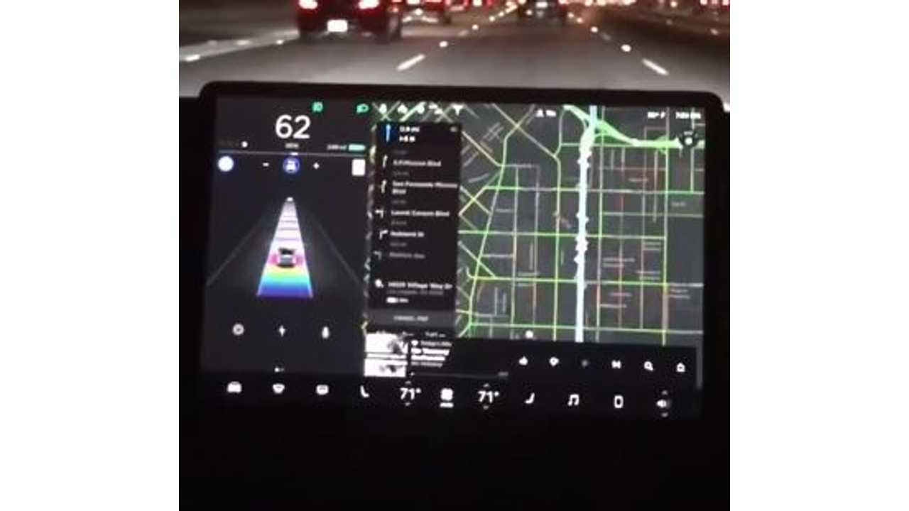 Tesla Model 3 On Rainbow Road, Plus GPS/Homelink In Action - Video