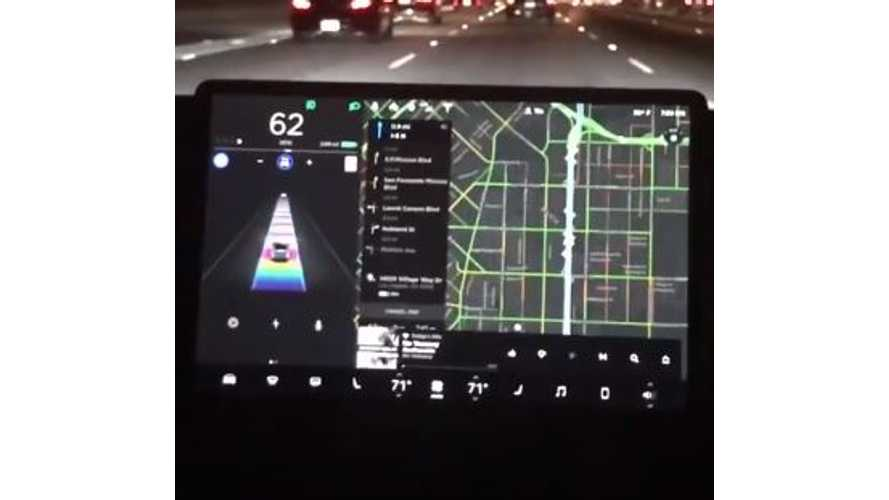 Tesla Model 3 On Rainbow Road, Plus GPS/Homelink In Action - Video