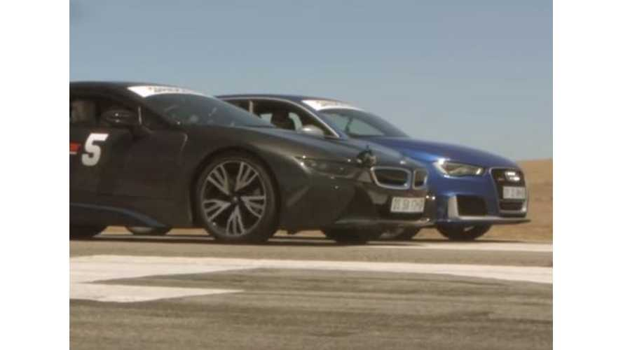 BMW i8 Versus Audi RS3 & Range Rover Sport SVR - Drag Race Video
