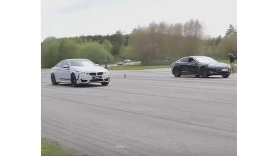 Tesla Model S P85D Versus BMW M4 - Rolling Start Race Video
