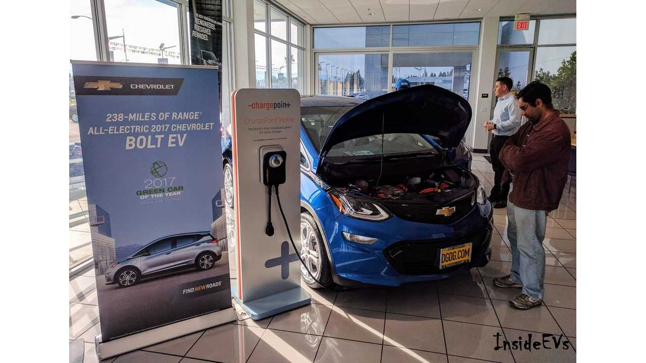 Chevrolet Bolt EVs arrived at dealership in California in significant volumes in January (Bolt EV at Capital Chevrolet in San Jose shown above)