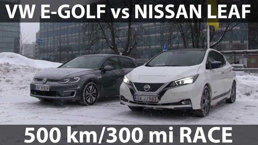 Nissan LEAF Races Volkswagen e-Golf On Winter Road Trip