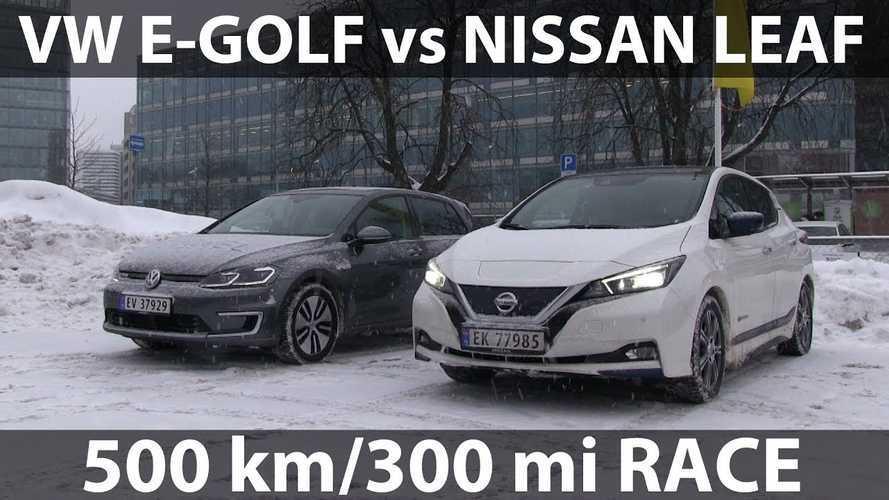 Nissan LEAF Races Volkswagen e-Golf On Winter Road Trip