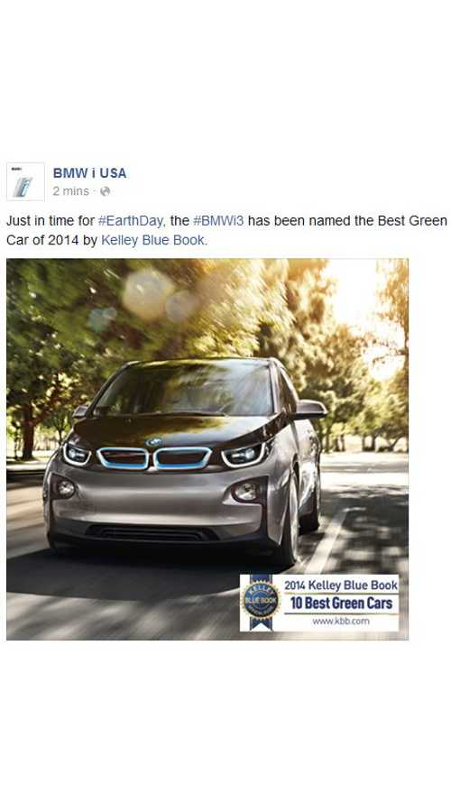 BMW i3 Named Kelley Blue Book's Best Green Car Of 2014