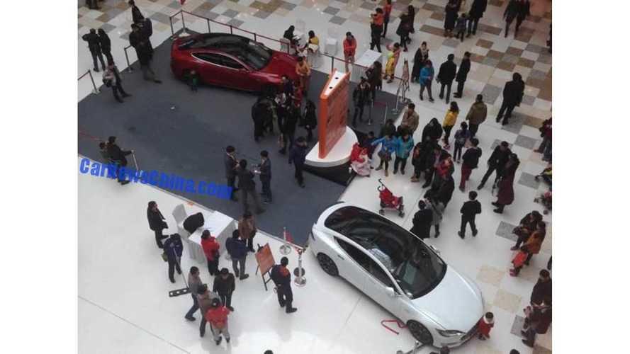 Kid Starts Tesla Model S Inside Mall - Strikes A Stroller, Baby Not Injured
