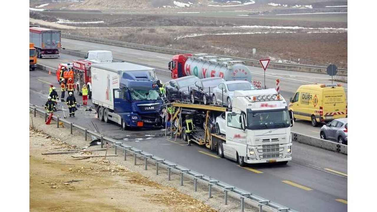 Tesla Transporter Struck By Semi Truck