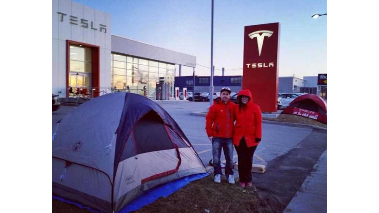 Camping Out At Tesla Store