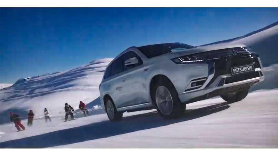 Mitsubishi Outlander PHEV Versus Ski Freestylers: Video