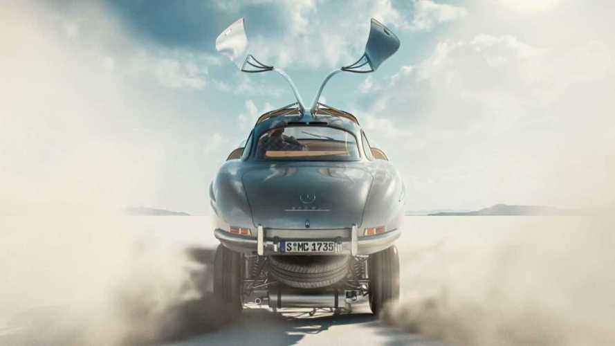 La Mercedes 300 SL spalanca le ali di gabbiano in un corto animato