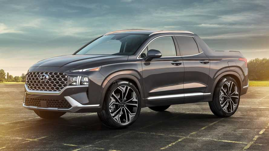 Hyundai Santa Cruz pickup imagined with Santa Fe SUV design cues