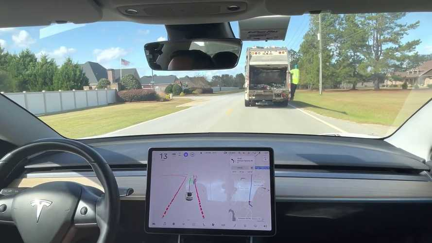Watch A Tesla Model 3 With FSD Beta 5 Pass A Garbage Truck On Its Own