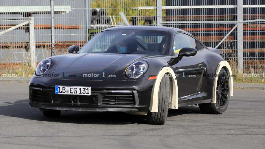 Porsche 911 with raised suspension spy photos