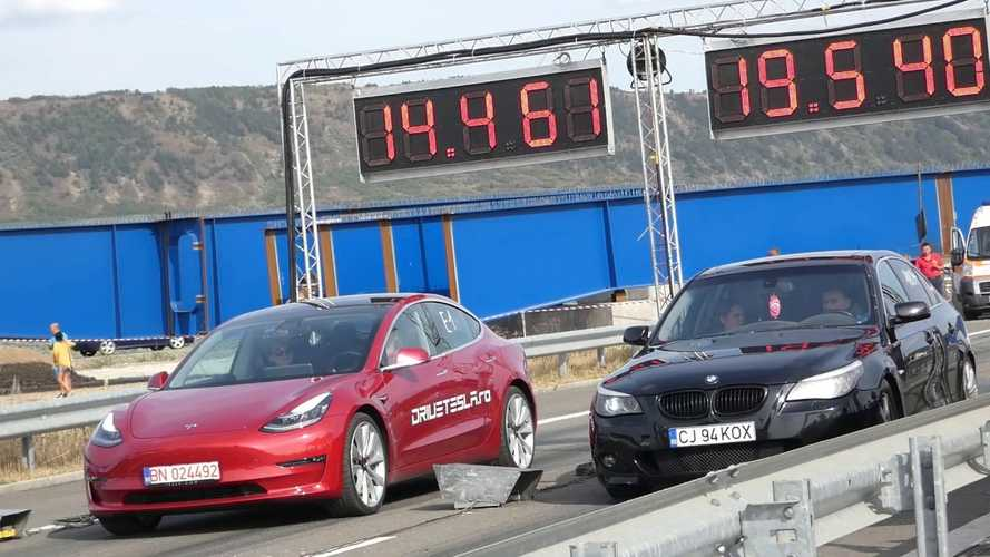 Watch Tesla Model 3 Performance race 400-bhp BMW 535d