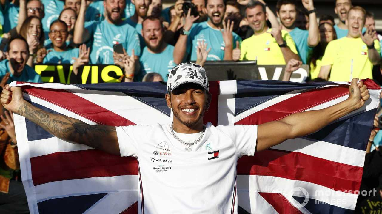 Lewis Hamilton celebrates winning the World Championship at US GP 2019