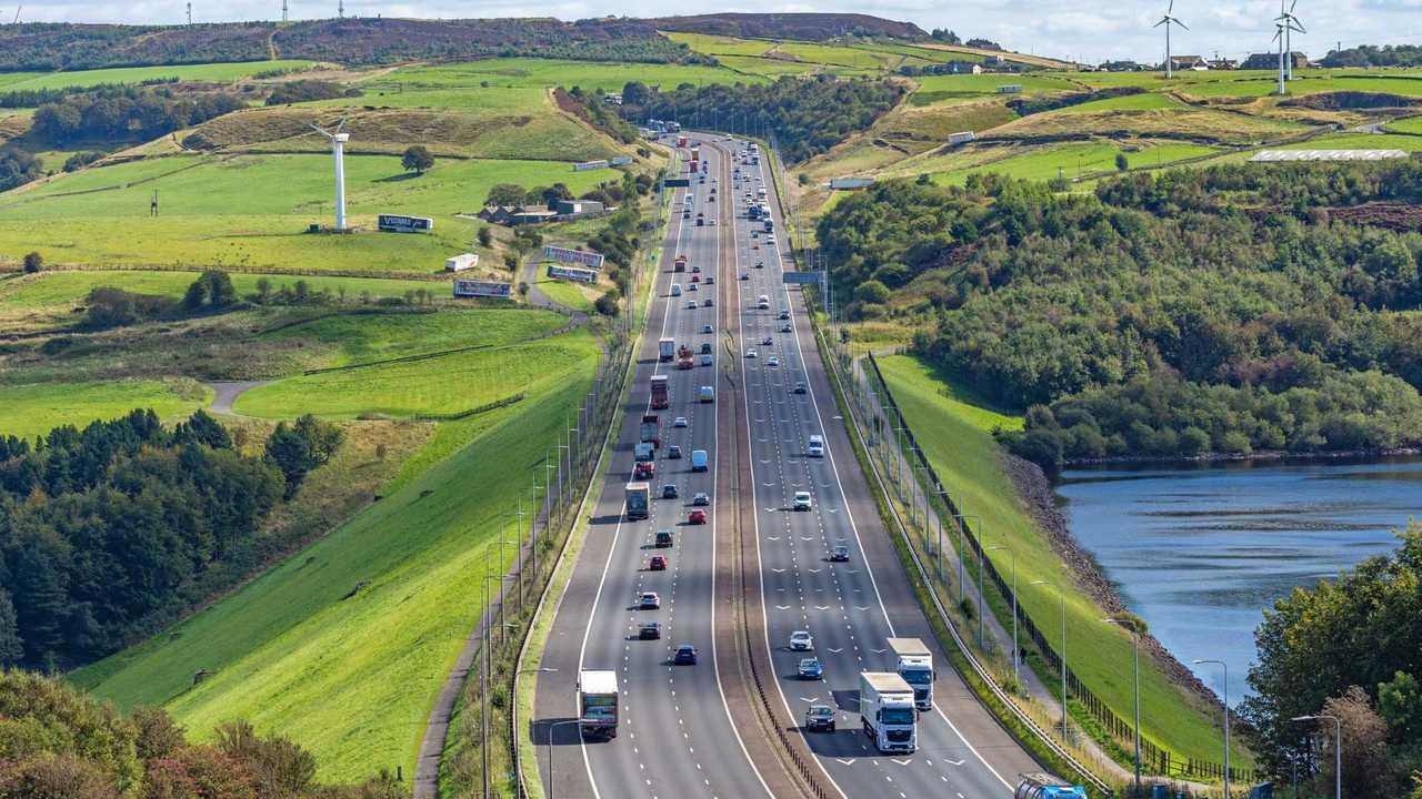 M62 Motorway looking towards Huddersfield, Lancashire England