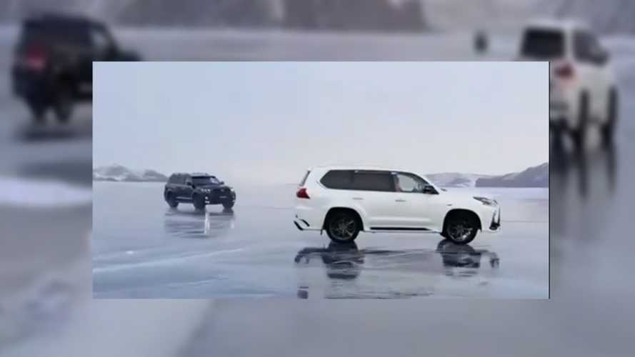 Frozen lake SUV drifting goes wrong