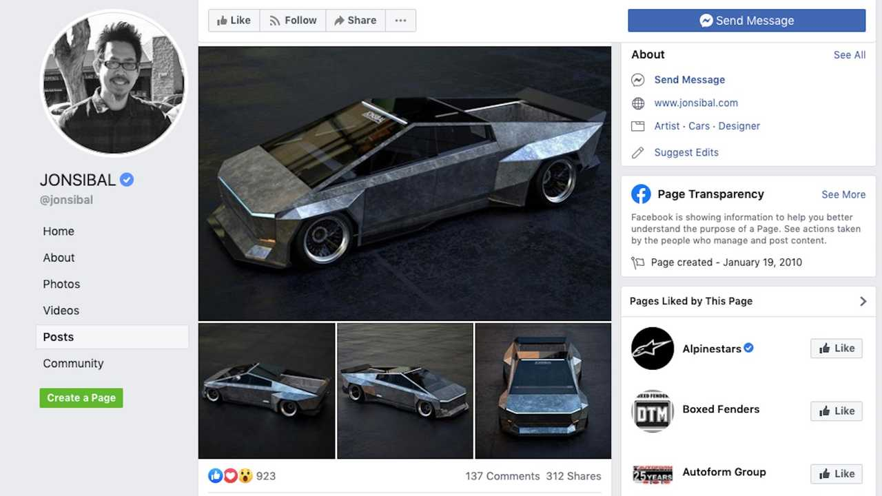 Screenshot of Tesla Cybertruck Widebody Rendering